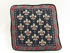 Vintage Needlepoint Fleur de Lis Throw Pillow with Velour Backing C092
