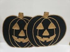 Isaac Mizrahi Halloween Pumpkin Beaded Placemats Centerpiece Charger Set of 2