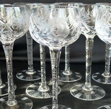 German Hand Cut Lead Crystal tall wine goblets set of 10 glasses, faceted stem