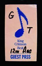 KING CRIMSON-Rare Original 1982 Unpeeled Backstage Pass-BEAT TOUR