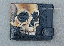 Mens Leather wallet, Carved wallet, Carved skull, Skull Wallet, Hand-painted