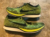 2016 Nike Flyknit Racer Black Volt Yellow Running Shoes Size 11.5 (526628-731)