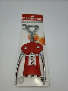 Farberware Professional Wing Corkscrew, Red, Removes corks in one piece, NEW