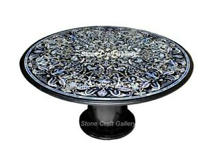 """60"""" Black Marble Dining Table Top Semi Precious Stone Handmade With Marble Stand"""