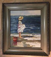 Signed Framed Artwork, Little Girl At Shoreline With Bucket