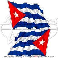 """CUBA Cuban Waving Flag 3""""(75mm) Vinyl Bumper Stickers Decals x2"""