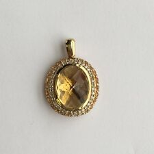 9ct Yellow Gold Pineapple Cut Champagne Quartz Mandarin Garnet & Diamond Pendant