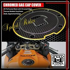 FOR 03-16 CBR-1000RR/600RR PERFORATE BLACK&CHROME GOLD GAS CAP FUEL LID COVER