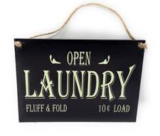 "Open Laundry Fluff & Fold 10¢ Load 7"" x 5"" Vintage Nostalgic Look Hardboard Sign"