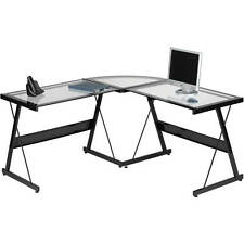 Home Office L Shape Desk Clear Glass Top Black Frame Corner Computer Work Table
