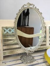 Pretty Ornate Cream Vintage Retro Dressing Table Oval Metal Mirror on Stand