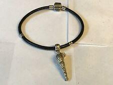 Concha De Mar TG131 de estaño bien inglés en una pulsera serpiente de imitación de cuero