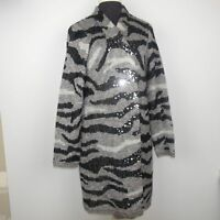Chico's Womens Long Duster Cardigan Sweater Open Front Sequins Gray Black Size 1