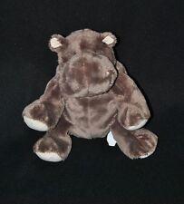 Peluche doudou hippopotame NICOTOY brun marron blanc crème 20 cm assis NEUF