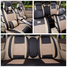 5-Seats Cooling Mesh+PU Leather BLK/BGE Car Seat Covers Front+Rear With Pillows