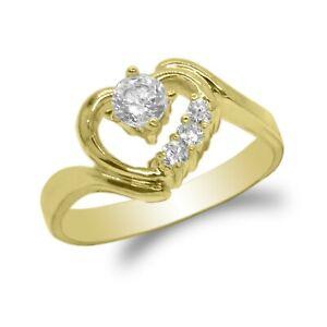 JamesJenny Women's 10k/14K Gold .66 ct Solitaire Heart Ring Size 4-10
