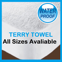 WATERPROOF TERRY TOWEL MATTRESS PROTECTOR FITTED SHEET COVER ALL SIZE AVAILABLE