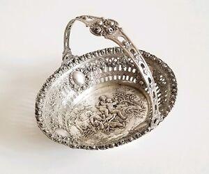 Antique German Repousse Silver Basket