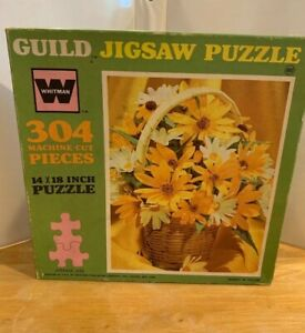 "Vintage Whitman Guild BASKET IN YELLOW 304 pieces 14"" x 18"" puzzle"