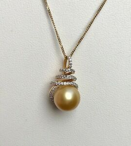Large 10mm Golden South Sea Cultured Pearl & Diamond 18ct Yellow Gold Pendant