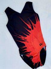 Gk Elite Gymnastics Leotard Red Spin Art Showstopper Sporty Tank Black Leo As