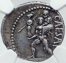 JULIUS CAESAR 48BC Ancient Silver Roman Coin VENUS TROY Rome HERO NGC i81522