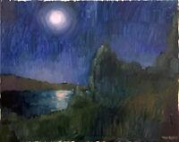 "Full Moon Impressionist Night Landscape Oil Painting 16""x20"" Original Signed Art"