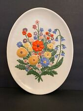 Midcentury Oval Wall Plate Raised Design Floral Wildflower Bouquet Kitchsy