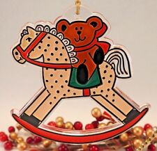 Hallmark Acrylic Tree Trimmer Ornament 1981 Rocking Horse  with Tag