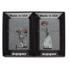 Zippo Day of The Dead Skulls Iron Stone Regular Lighter Set - BRAND