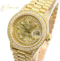Rolex Ladies Datejust 18k Yellow Gold 69178 Diamond Lugs Diamond Dial Bezel 26mm