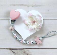 Schnullerkette Schnullerband Nuckelkette mit Namen Silikon Beißkette rosa grau