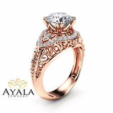 Charles Colvard Moissanite Engagement Ring Vintage 14K Rose Gold Ring