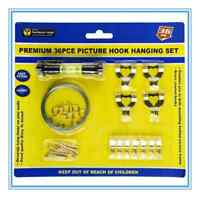 5 PACK 36 PCE PICTURE HOOK HANGING SET w/ SPIRIT LEVEL AND NAILS HOOKS FRAME