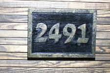 Custom Carved Address Sign Hand Painted Plaque Brass Finished Wood