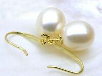 Natural Aaa 9x11mm  South Sea White Pearl Earrings 14k White Yellod Gold Hook