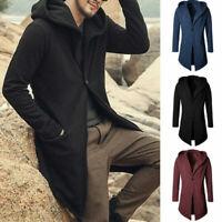 Men Spring Trench Coat Jacket Hooded Cardigan Long Sleeve Casual Slim Fit Jacket