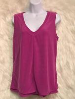 Worthington Women's Large Stretch Layered Dark Pink Sleeveless  Blouse - GUC