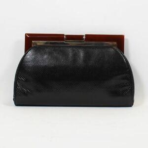 "JUDITH LEIBER Black Lizard Frame Clutch Bag, 5"" X 1"" X 10"""