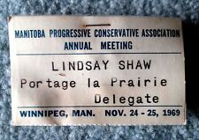 Manitoba Conservative Party 1969 Annual Meeting Delegate Card slc