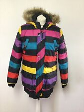 DANISH PA:NUU Multicolour Stripe Ski Style Long Jacket Street Urban Funky Warm