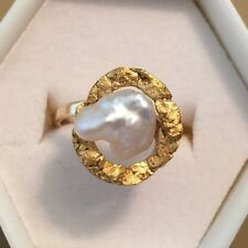 14K Solid Yellow Gold Baroque Pearl Golden Nugget Design Ring 4.6 Grams Size 5