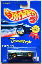 HOT WHEELS 1991 BLUE CARD DODGE VIPER RT/10 #210 GREEN W/ 5 SP WHEELS 09