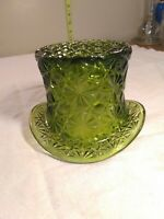 Fenton Daisy & Button Green Depression Glass Top Hat Candy Dish Bowl Vintage