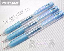 free ship 10 pcs ZEBRA sarasa clip 1.0mm Broad roller ball pen Shiny BLUE ink