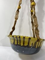 Vintage Pottery Hanging Planter Yellow Brown Bowl