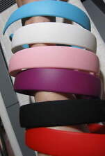 6 HARD HEADBANDS plastic Matte finish Quality Solid Colors Black Red Pink Lot Wt