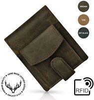 Men's Slim Genuine Leather Wallet ID Money Credit Card Holder Hunter photo RFID