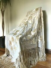 "50"" Antique SILK Embroidered PIANO SHAWL Vintage FRINGED Edwardian WRAP Scarf"