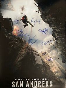 ABSOLUTELY STUNNING CAST SIGNED 'SAN ANDREAS' MOVIE POSTER SIGNED X 9